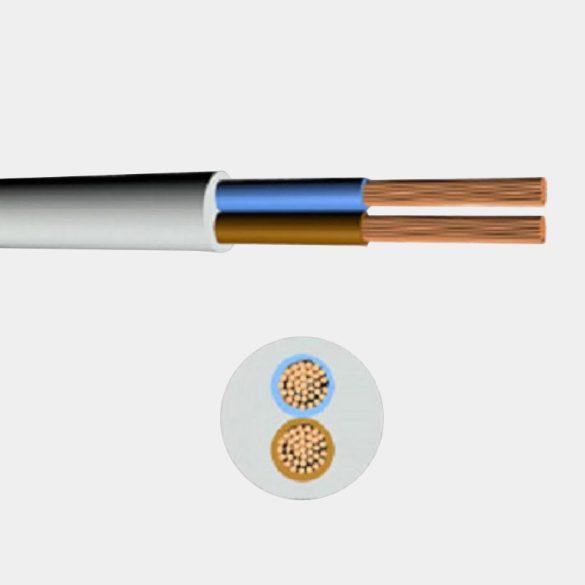 MT kábel 2x1,0mm2 fehér PVC köpenyes réz erű sodrott H05VV-F (MTK)