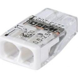 WAGO COMPACT vezeték összekötő 2x0,5-2,5 mm2 tömör vezetékhez, átlátszó házban, fehér fedéllel 2273-202