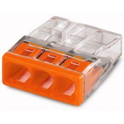 WAGO COMPACT vezeték összekötő 3x0,5-2,5 mm2 tömör vezetékhez, átlátszó házban, narancssárga fedéllel 2273-203