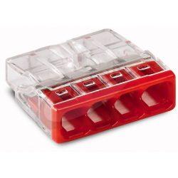 WAGO COMPACT vezeték összekötő 4x0,5-2,5 mm2 tömör vezetékhez, átlátszó házban, piros fedéllel 2273-204