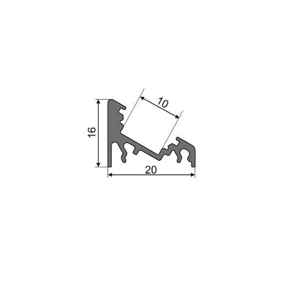 TM-profil LED Corner alu fekete 2000mm