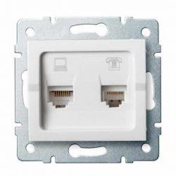 Kanlux 25113 LOGI 02-1440-002 fehér adat-telefoncsatlakozó aljzat (RJ45 Cat 6+RJ11)