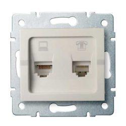 Kanlux 25172 LOGI 02-1440-003 krém adat-telefoncsatlakozó aljzat (RJ45 Cat 6+RJ11)