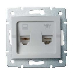 Kanlux 25231 LOGI 02-1440-043 ezüst adat-telefoncsatlakozó aljzat (RJ45 Cat 6+RJ11)