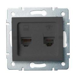 Kanlux 25290 LOGI 02-1440-041 grafit adat-telefoncsatlakozó aljzat (RJ45 Cat 6+RJ11)