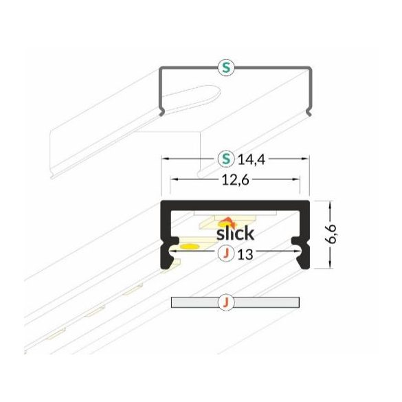 TM-profil LED Begton alu elox 2000mm