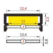 Topmet TM-takaró profil Begtin/Begton rápattintható/kihúzható transzparens 2000mm (J)