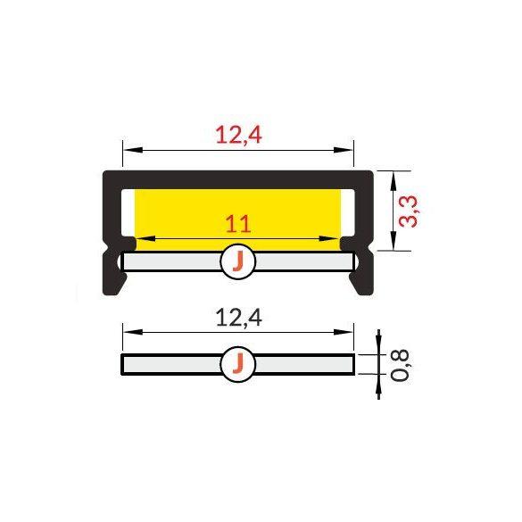 TM-takaró profil Begtin/Begton rápattintható/kihúzható transzparens 2000mm (J)