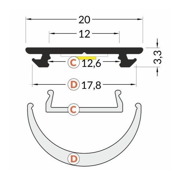 Topmet TM-profil ARC12 2000mm (nyers alu)