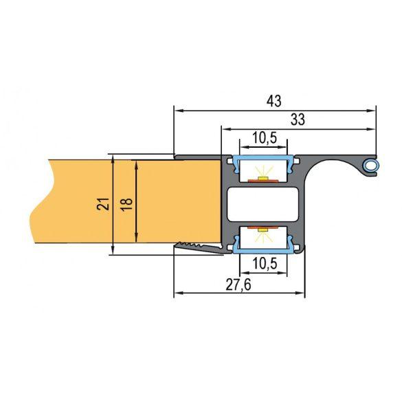 TM-profil Lucera rápattintható alu anodizált 2000mm
