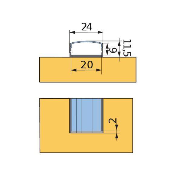 STRONG takaró profil LED-hez profil Fanto 2m átlátszó
