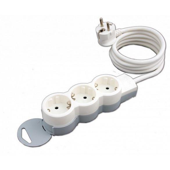 Hosszabbító, elosztó 3-as 1,5fm fehér Legrand 695001 hálózati elosztó 3x2P+F 1,5m ST falra szerelhető