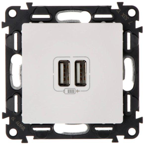 Valena Life USB töltőaljzat kettős beépített tápegységgel - 5V - 1500 mA fehér