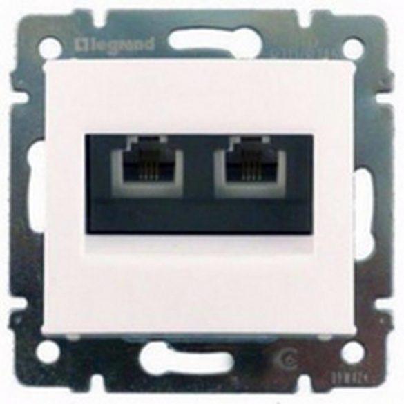 Valena 2xRJ11 beépíthető adatcsatlakozó betét központi fedéllel műanyag fehér