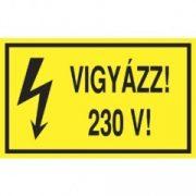 Öntapadó vinil matrica 60x100mm sárga - Vigyázz! 230V