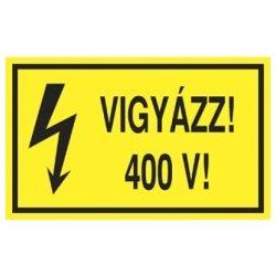 Öntapadó vinil matrica 60x100mm sárga - Vigyázz! 400V!