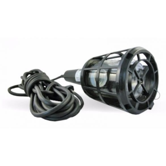 Kézilámpa  60W IP20, H05RN-F 2x0,75mm2, 5m, fekete, műanyag rácsos (DEL1028) deLux
