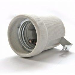 Porcelán foglalat E27 fém rögzítőfüllel  (DEL121)