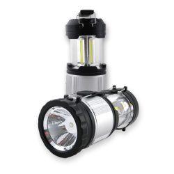 DEL1363 Kemping lámpa (viharlámpa) 1W+3W COB LED 120lm, PC+ABS, (3xAA nem tart.)  delux – Készlet erejéig!!!