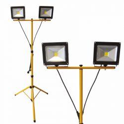 DEL1435 Reflektor   2X20W LED, állványos SLIM 2800lm, 220-240VAC, IP65, 4000K, delux