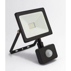 DEL1445 Reflektor   10W LED, 800lm, 200-240VAC, IP65, 4000K, 120 fok, 15x SMD2835 LED, lapos, fekete, mozgásérzékelővel, 115*106*35mm, alumínium SLIM