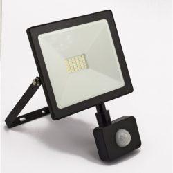 DEL1447 Reflektor   20W LED, 1600lm, 200-240VAC, IP65, 4000K, 120 fok, 30x SMD2835 LED, lapos, fekete, mozgásérzékelővel, 150*127*35mm, alumínium SLIM