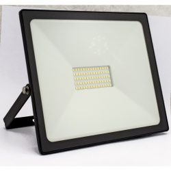 DEL1449 Reflektor   50W LED, 4000lm, 200-240VAC, IP65, 4000K, 120 fok,75x SMD2835 LED, lapos, fekete, 210*185*38mm, alumínium SLIM SERIES delux