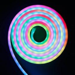 DEL1637 LED szalag neon flex RGB SZETT távirányítóval, tápegységgel, 3m, IP65, 12V DC, 4,8W/m, 120LED/m, SMD2835, delux