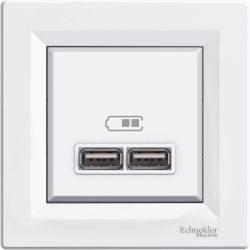 Asfora USB töltő dupla 2,1A fehér