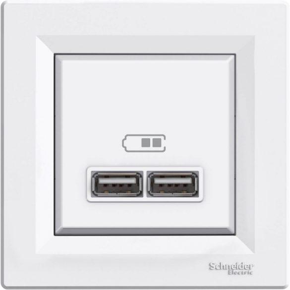 Schneider Asfora USB töltő dupla 2,1A fehér