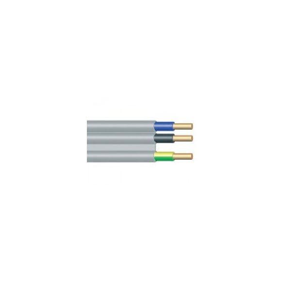 CYMY kábel falvezeték 3x1,5mm2 szürke lapos PVC szigetelésű tömör réz erű (CYMY falvezeték-RÉZ) YDYt (MMFAL)