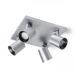 KENNY IV mennyezeti lámpa  szálcsiszolt alumínium/fekete 230V GU10 4x35W, Rendl Light Studio R12922