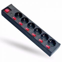 STI1045 Hálózati elosztó 6-1.5fm, villámvédelemmel,6+1 kapcsolóval H05VV-F 3x1,5mm2 Stilo
