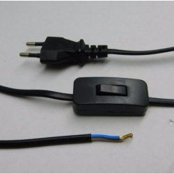 STI1113 FLEXO  MTL 2x0,75   2,3 fm fekete, kapcsolós szerelt kábel, Stilo