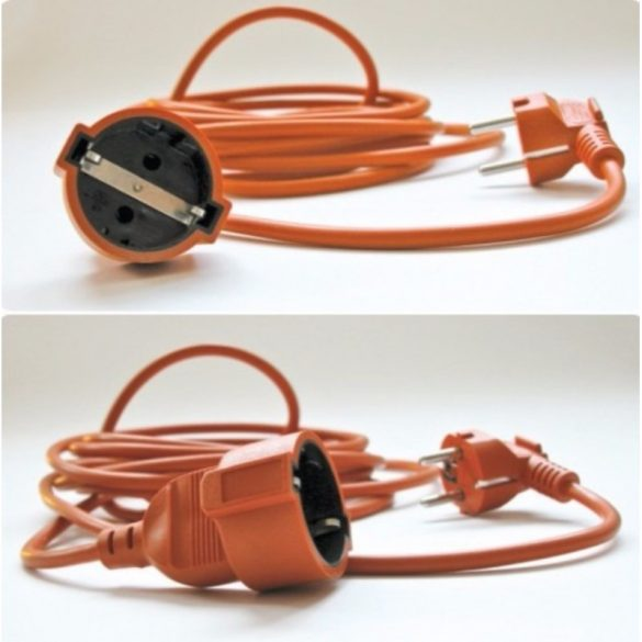 Hosszabbító 5fm narancs színű FLEXO MTK 3x1,5 + CSF 5m Stilo (STI757)