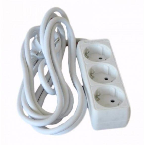 Hosszabbító, elosztó 3-as 5fm fehér Hálózati elosztó  3-5m Stilo (STI765)