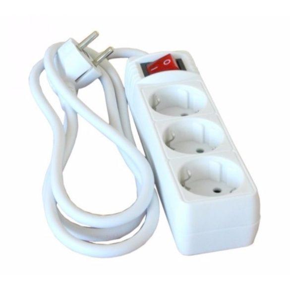 Kapcsolható hosszabbító, elosztó 3-as 1,5fm fehér Hálózati elosztó  3-1.5m+kapcsoló Stilo (STI766)