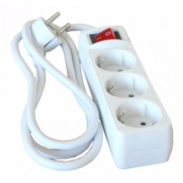 Kapcsolható hosszabbító, elosztó 3-as 5fm fehér Hálózati elosztó  3-5m+kapcsoló Stilo (STI768)
