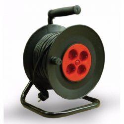 Kábeldobos hosszabbító 25fm fekete 2 pólusú műanyag kábeldob fém tartóval IP20 25m 4x2P+F Stilo (STI782)