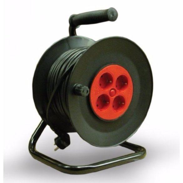 Kábeldobos hosszabbító 50fm fekete 2 pólusú műanyag kábeldob fém tartóval IP20 50m 4x2P+F Stilo (STI783)
