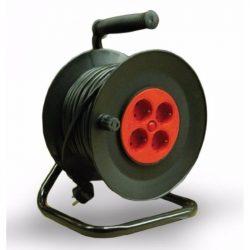 STI784 2 pólusú műa.kábeldob fém tartóval  40 Fm. (Stilo) MT 3x1,5 mm2 !!! vezetékkel,4db védőérintkezős aljzattal