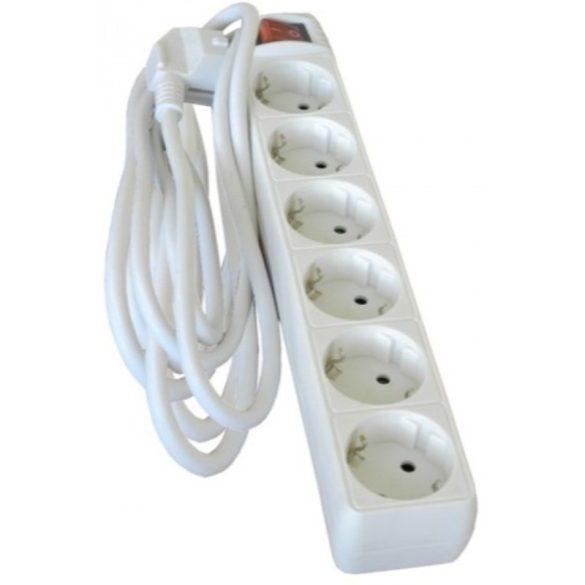 Kapcsolható hosszabbító, elosztó 6-os 3fm fehér Hálózati elosztó  6-3m+kapcsoló Stilo (STI959)