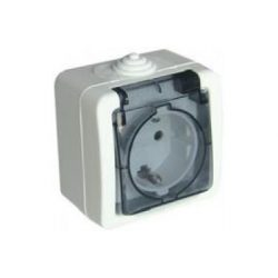 Falon kívüli földelt csapófedeles dugaszolóaljzat, gyermekvédelemmel, átlátszó TR-PH01