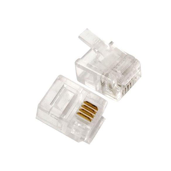 Telefon dugó, 6P4C, RJ11, átlátszó műanyag