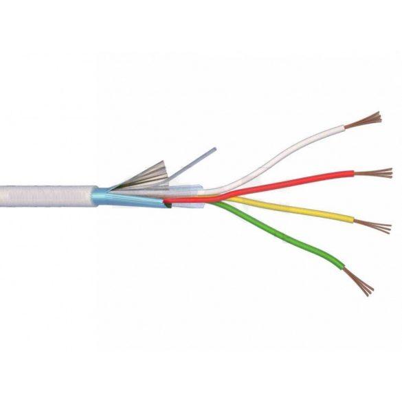 Riasztókábel alarm vezeték 4x0,22 mm2 CCA fehér (100) 65V (YYSch)