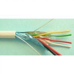 Riasztókábel alarm vezeték 2x0.5 + 4x0,22 mm2 CCA fehér (100) 65V (YYSch) corvin
