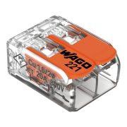 WAGO 221-412 vezeték összekötő sodrott 2-es, átlátszó 0,2-4mm2, 32A