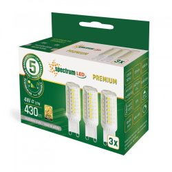 LED G9 230V 4W SMD NW DIMM 3-PACK fényforrás LED izzó, WOJ14485 SpectrumLED